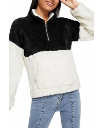 Faux Fur Sweatshirt Zip Front Black