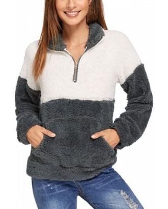 Fuzzy Contrast Panel Sweatshirt Gray
