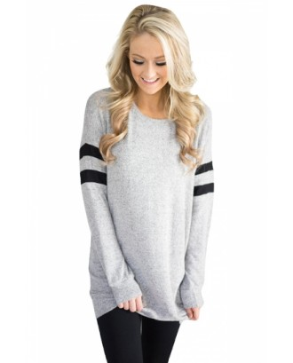 Womens Trendy Crew Neck Long Sleeve Striped Sweatshirt Light Gray