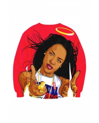 Womens Crew Neck Aaliyah Baby 3D Red Printed Sweatshirt