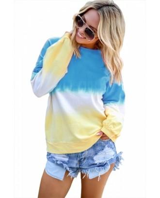 Plus Size Crew Neck Ombre Sweatshirt Blue