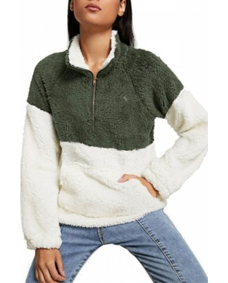 Drop Shoulder Sweatshirt Pocket Detail Green