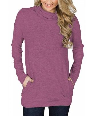 Cowl Neck Long Sleeve Pocket Plain Sweatshirt Burgundy