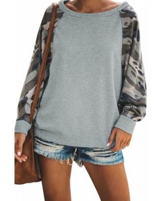 Contrast Sweatshirt Camouflage Print Gray