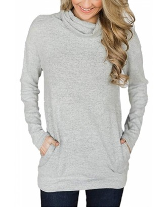 Cowl Neck Long Sleeve Pocket Plain Sweatshirt Gray