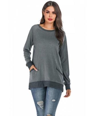 Raglan Sleeve plain Sweatshirt Dark Green