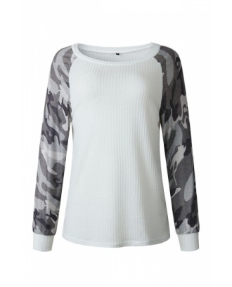 Camo Panel Crew Neck Sweatshirt White
