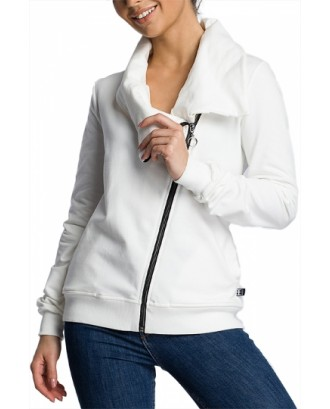 Plus Size Solid Sweatshirt With Pocket White