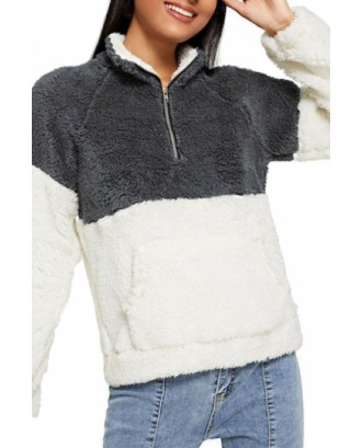 Color Block Sweatshirt Kangaroo Pocket White