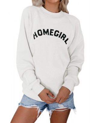 Casual Letter Print Pullover Sweatshirt White