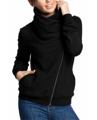 Plus Size Asymmetrical Zip Sweatshirt Black