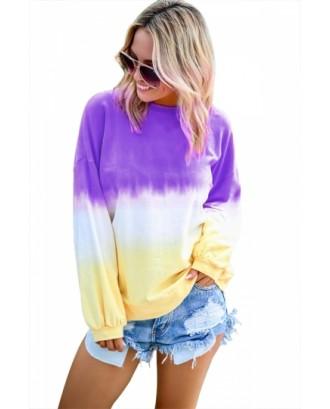 Plus Drop Shoulder Ombre Sweatshirt Purple