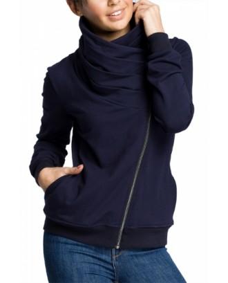 Plus Size Sweatshirt With Irregular Zip Navy Blue