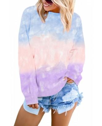 Tie Dye Pullover Sweatshirt Drop Shoulder