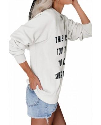 Letter Print Pullover Crewneck Sweatshirt