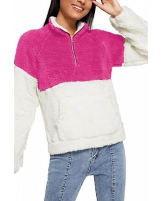 Quarter Zip Sweatshirt Cut And Sew Rose Red