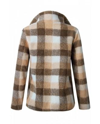 Zipper High Collar Long Sleeve Plaid Fuzzy Sweatshirt Apricot