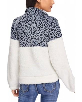 Leopard Print Kangaroo Pocket Sweatshirt Blue
