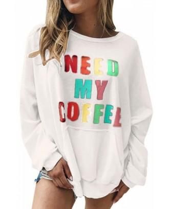 Drop Shoulder Sweatshirt With Pocket White