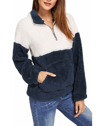 1/4 Zipper Pullover Sweatshirt Navy Blue