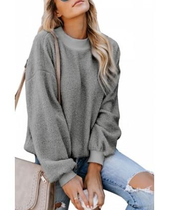 Fuzzy Pullover Sweatshirt Long Sleeve Gray