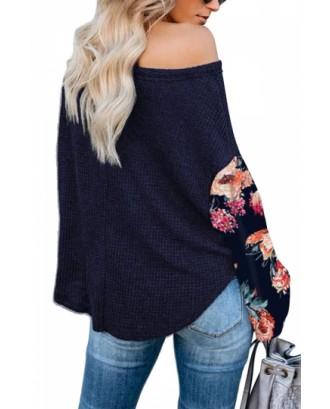 Floral Sleeve Pullover Sweatshirt Navy Blue