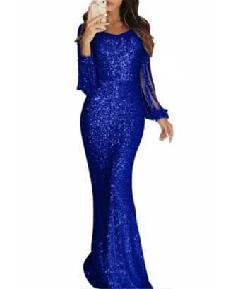 Fringe Sleeve Evening Dress Sequin Blue
