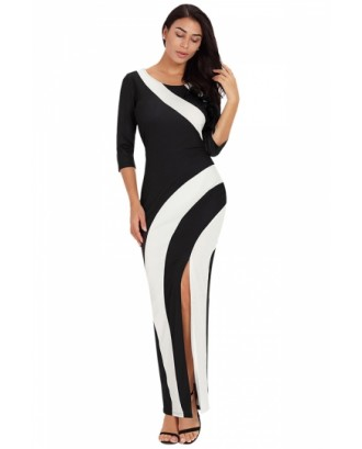 Elegant Crew Neck Color Block Side Split Maxi Evening Dress Black