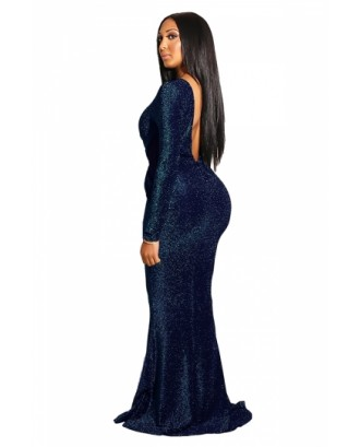 Elegant Long Sleeve Backless Keyhole Mermaid Evening Dress Navy Blue