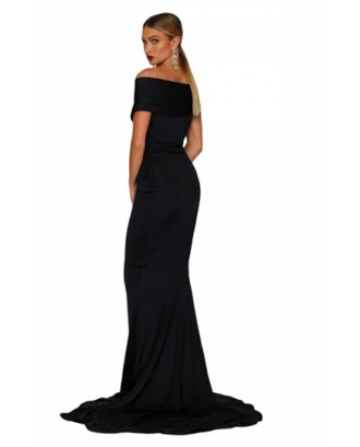 Elegant Off Shoulder Short Sleeve Plain Mermaid Evening Dress Black