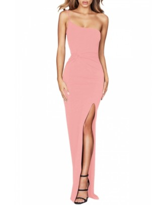 Elegant Evening Dress Sleeveless Pink
