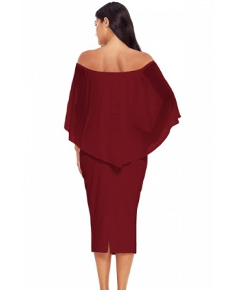 Elegant Off Shoulder Mesh Plain Bodycon Midi Evening Dress Ruby