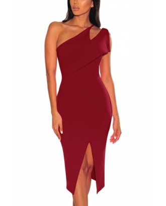 Asymmetrical Shoulder Split Bodycon Evening Dress Ruby