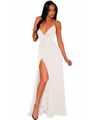 Deep V Neck Ruffle Lace Up Maxi Dress White