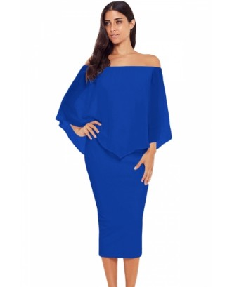 Elegant Off Shoulder Mesh Plain Bodycon Midi Evening Dress Blue