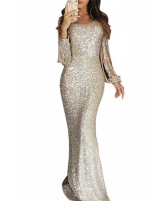 Elegant Sequin Maxi Evening Dress Silvery