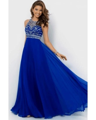 Backless Royal Blue Chiffon Long Evening Prom Dress