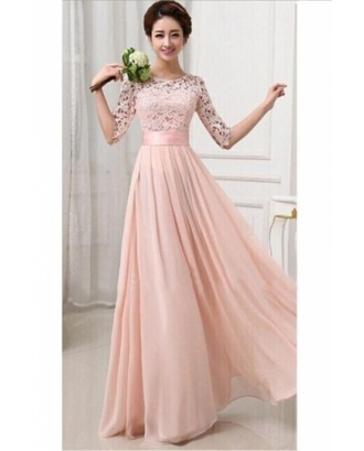 Elegant Plain Half Sleeve Cut Out Chiffon Lace Prom Dress Pink