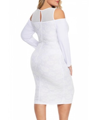 Plus Size Bodycon Evening Gown With Lace White