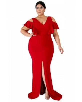 Plus Size V Neck Cut Out Split Plain Maxi Evening Dress Red