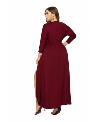 Elegant Plus Size V Neck 3/4 Sleeve Wrap Plain Maxi Dress Ruby