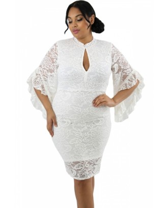 Plus Size Bell Sleeve Keyhole Lace Bodycon Midi Evening Dress White
