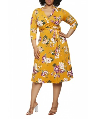 Plus Size Floral Midi Dress With Belt Yellow