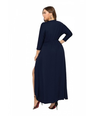Elegant Plus Size V Neck 3/7 Sleeve Wrap Plain Maxi Dress Navy Blue