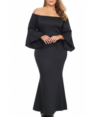 Plus Size Off Shoulder Maxi Dress Flare Sleeve