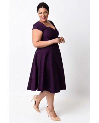Cheap Plus Size Short Sleeve Empire Waist Swing Dresses Purple