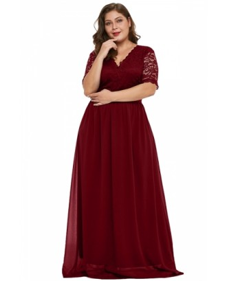 Plus Size Floral Lace Chiffon Maxi Evening Dress Ruby