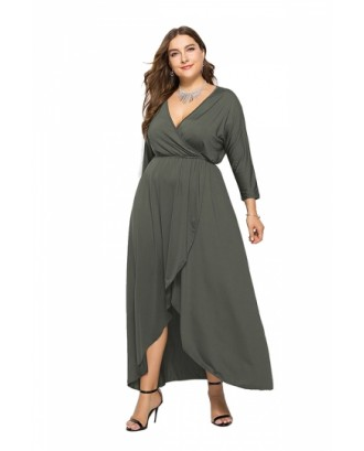 Elegant Plus Size V Neck 3/10 Sleeve Wrap Plain Maxi Dress Gray