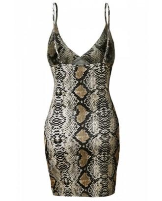 Plus Size Sexy Deep V Neck Snakeskin Print Bodycon Club Slip Dress Brown