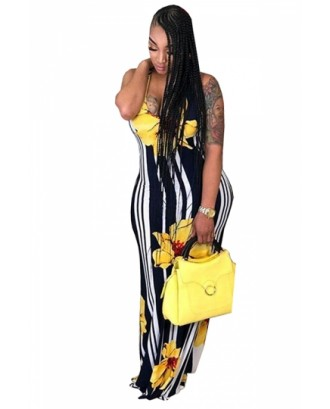 Plus Size Scoop Neck Striped Floral Print Maxi Dress Yellow